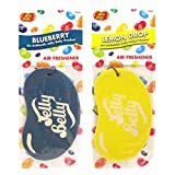 JELLY BELLY TWIN PACK 2D BEAN SWEETS SCENT CAR AIR FRESHENER - BLUEBERRY + LEMON DROP
