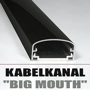 "DESIGN ALU KABELKANAL ""BIG MOUTH"" LCD & PLASMA KLAVIERLACK SCHWARZ 50CM"