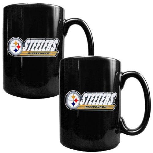 Nfl Pittsburgh Steelers Two Piece Black Ceramic Mug Set