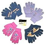 Kinder Fingerhandschuhe Strickhandschuhe Magic Gloves Winterhandschuhe in Jeans-Blau