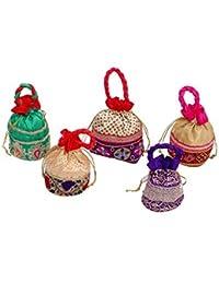 Kuber Industries Designer Potli Bag, Make Up Bag, Hand Bag Set Of 5 Pcs (Brocade)