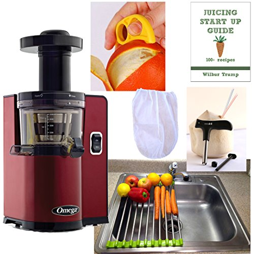 Learn More About Omega VSJ843QR Pack3 VERT Slow Juicer , Square Version, RED + Accessory Pack! – Folding Drain Rack, Nut Milk Pulp Straining Bag, Recipe eBook, Coconut Opener, Citrus Peeler