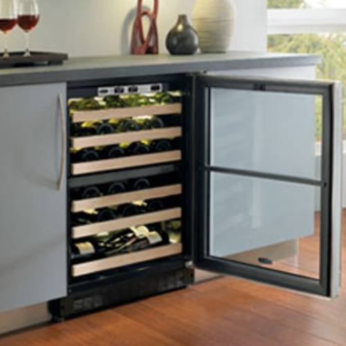 44 Bottle Dual Zone Wine Refrigerator Hinge Location: Left, Finish: Designer Glass Door