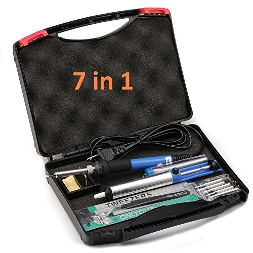 [7-in-1] eLander Electric Soldering Iron Kit - for Variously Repaired Usage, 60W Adjustable Temperature Welding Soldering Iron, 5pcs Different Soldering Tips, Solder Wire, Stand with Cleaning Sponge