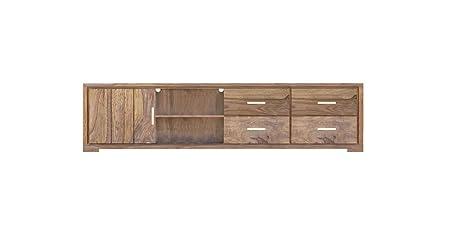 SAM® Longboard TV-Schrank White Mountain V aus Sheesham, zwei Ablageflächen, vier Schubladen, eine Tur
