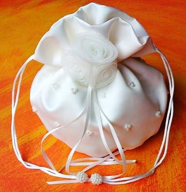 LadyMYP© Edeler Brautbeutel, Brauthandtasche mit Perlen & Organza-Blumen, Hochzeit, Kommunion, weiß/ivory, ca. 16*22cm (Ivory(Hellcreme))