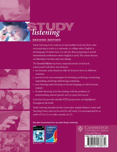 Study Listening 2nd Student's Book: A Course in Listening to Lectures and Note Taking