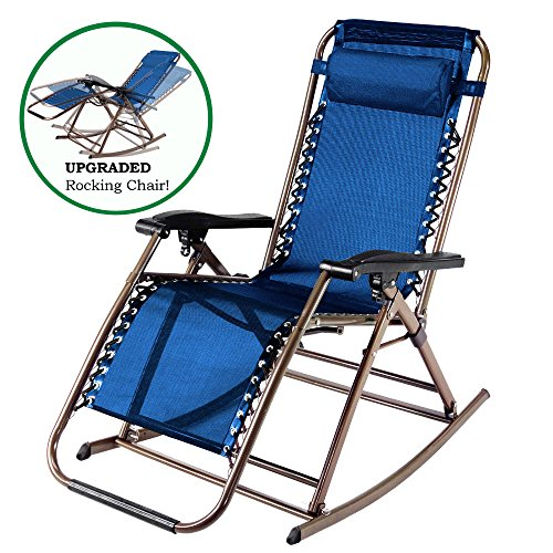 PARTYSAVING Infinity Zero Gravity Rocking Chair Outdoor Lounge Patio Folding Reclining Chair APL1272, Navy Blue