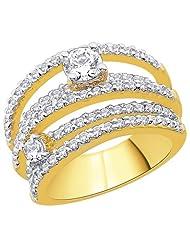 Peora 18 Karat Gold Plated Ring With Swiss Cubic Zirconia PR3026