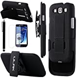 S3 Case,Galaxy S3 Case,ULAK, Hybrid Rugged Belt Clip Holster Combo Kick-Stand Cover Case for Samsung Galaxy S3 III i9300 + Screen Protector+Touch Stylus