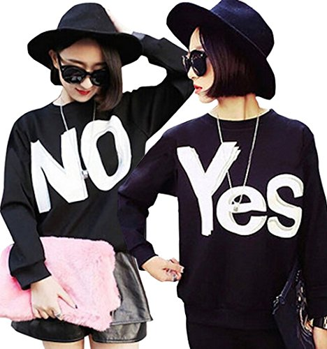 Ange select toys! print Yes No trainer men and women and for logo letters long-sleeved engaging couple matching room and party scene (NO (XXL)
