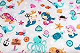 Mermaid Ocean Theme 1/2 Yard 100% Cotton Flannel Fabric ~ Adorable Child Design