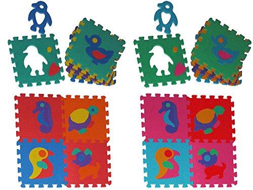 30 tlg Set: Puzzle Teppich aus Mossgummi - verschiedene Tiere zum puzzeln / Puzzleteppich - Spieleteppich Puzzlematte - Spielmatte Kinderteppich - Bodenmatte