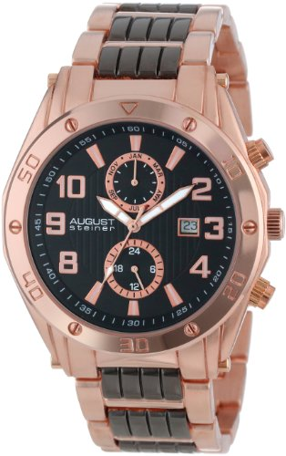 August Steiner Men's Swiss Multi-function Watch with Black Dial Analogue Display and Two Tone Alloy Bracelet AS8070RG