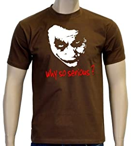 Coole-Fun-T-Shirts Herren T-shirt Why So Serious ? Joker, Braun, S, 10868 by Coole-Fun-T-Shirts