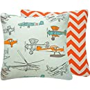 Chloe & Olive Flight School Collection Transportation and Chevron Reversible Square Pillow Cover, 18-Inch, Orange