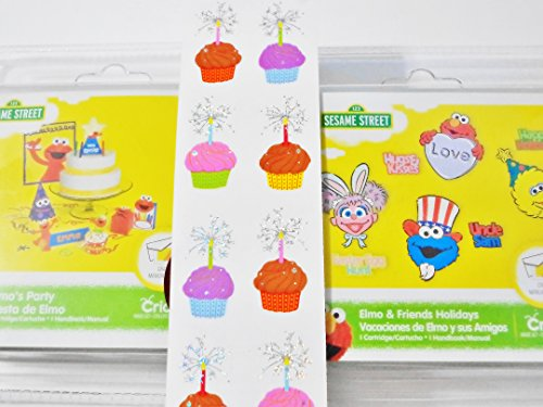 Cricut Sesame Street Elmo & Friends Holiday and Elmo`s Party and Mrs. Grossman Cupcakes Sparkle Stickers 3 Piece Craft Bundle