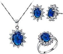 FLORAY Mujer Zafiro azul Collar Colgante y Pendientes y Anillo Juegos de joyas, circonita, Cadena de plata esterlina