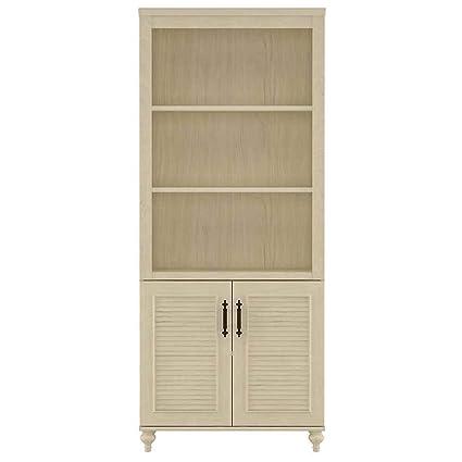 Volcano Dusk Bookcase w 2 Door Cabinet (Driftwood Dream White)