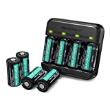 CR123A Rechargeable Batteries RAVPower Protected Batteries [8 Pack 3.7V 700mAh ] with Arlo Battery Charger and Battery Case for Arlo VMC3030 VMK3200 VMS3330 3430 3530 Wireless Security Cameras