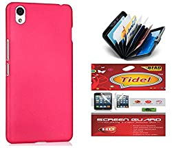 Tidel Pink Matte Finish Rubbrised Slim Hard Back Cover For OnePlus X With Credit Card & Cash Holder and Tidel screen guard