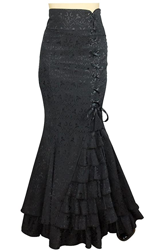 Steampunk Skirts | Bustle Skirts, Lace Skirts, Ruffle Skirts Gothic Ruffle Fishtail Skirt $63.99 AT vintagedancer.com