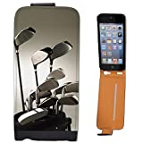 Golf Clubs in Golf Bag Ready to Play Leather Flip Case Cover for Apple iPhone 5, iPhone 5S