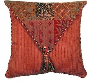Brown Textured Throw Pillow : Amazon.com - Reds and Brown Multi Textured 18 x 18 Caravan Pillow - Throw Pillows