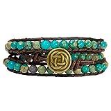 Celtic Knot Bracelet Leather Turquoise-Jasper Beaded Wrap (Goldish Bronze Button)