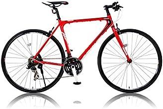CANOVER(カノーバー) 700×25C 特殊加工(バフ研磨)アルミフレーム クロスバイク シマノ21段変速ラピッドファイヤー 重量:11.2Kg LEDライト標準装備 CAC-021 VENUS(ビーナス) レッド