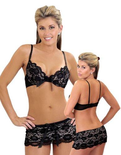 Bang! Lace Bra and Skirt Set