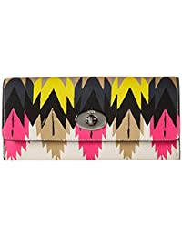 Coach 53599 Hawk Feather Print Crossgrain Leather Slim Envelope Wallet With Pop-up Pouch