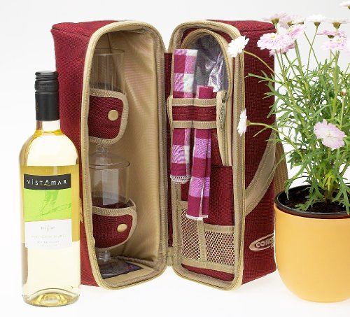 Chelsea Garden in Cool Bag - White wine gift in single bottle cool bag with two glasses, napkins and corkscrew
