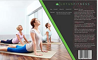 """lotus fitness premium eco yoga mat with strap. Great for yoga, pilates, and stretching. High-quality, biodegradable tpe, extra thick and long at 1/4"""" X 72""""L X 24""""W. lightweight, durable, dark grey."""