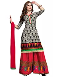 Black Cotton Resham With Patch Patti Dress Material