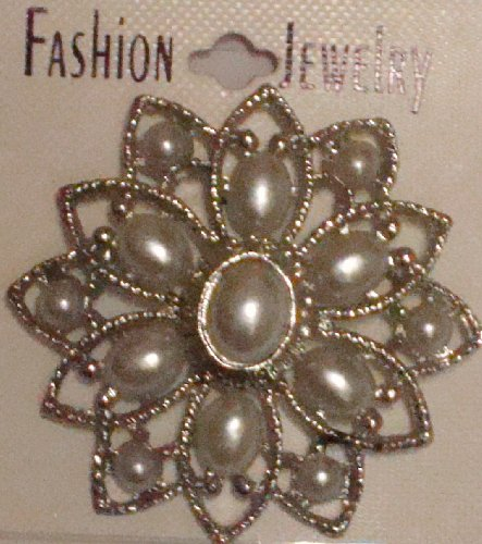 Simulated Jades Ivory Pearl on Crystals on Sterling Silver Plated Gita Brooch Pin for Women and Teens