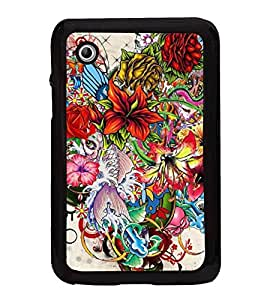 Multi colour Flowers Heart 2D Hard Polycarbonate Designer Back Case Cover for Samsung Galaxy Tab 2 :: Samsung Galaxy Tab 2 P3100
