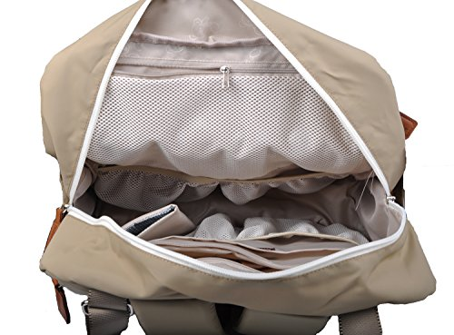 1544ee2d1ba Bebamour Travel Backpack Diaper Bag Tote Handbag Purse (Light Khaki ...