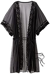 Shirley of Hollywood Women's Sheer Lace Trimmed Robe, Black, One Size