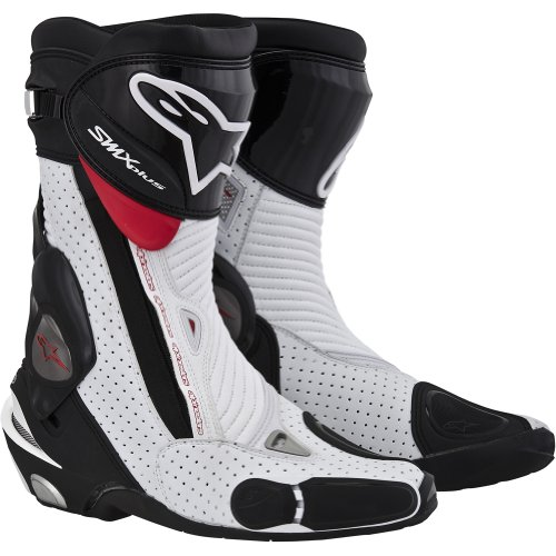 Alpinestars S-MX Plus Vented Men's Leather Street Motorcycle Boots - Black/White/Red / Size 37