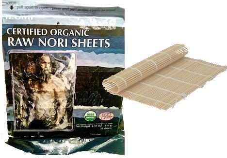 50 Raw Organic Nori Sheets + Bamboo Sushi Roller - Sushi Roll Paper wraps KOSHER