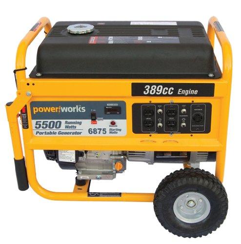 Powerworks 92112 5,500 Watt 389cc Gas Powered Portable Generator With Wheel Kit
