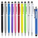 Cambond Bundle of 10 Colorful 2 in 1 Slim Stylus for Universal Capacitive Touch Screen Pen for iPhone 4/4S 5/5S,iPad Air, Android Smart Phone and All Touch screen Devices, Cambond Gift Stylus Included