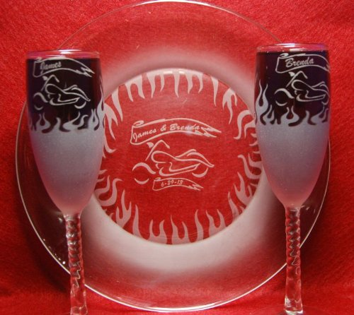Flaming Biker Wedding Flute glasses and Cake plate Free engraving