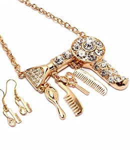Big Hair Dryer Necklace Earring Set Hair Stylist Scissor Comb Brush Gold Tone