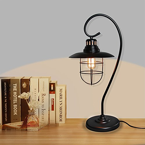 LNC Iron Glass Vintage Industrial Table Lamp 3