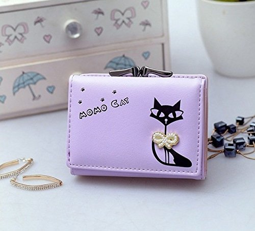 b7c33f5dc60 Purple [Cat With BowKnot] Womens Wallet Small Clutch Wallet Hand purse For Womens  Women's