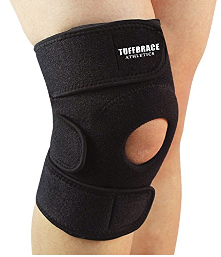 Knee Brace and Support by TUFFBRACE ATHLETICS – 20% OFF – Helps with Running, Walking, ACL, Meniscus Tear, and Arthritis – Moderate Compression – Warmth Improves Circulation and Injury Recovery – Fits up to 15 Inch Knee – Includes Warranty