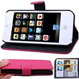 CaseMore Pink Premium Quality Wallet Stand Case for iPhone 5 Horizontal with Credit Card Slots & Holder Leather Case (Sprint, AT&T Verizon and International Carriers)