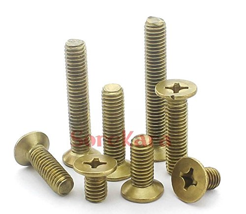 Bingirl Metric Thread M4 M5 Brass Countersunk Head Phillips Screws Multiple Length M4*6 50